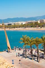 SALOU, TARRAGONA, SPAIN - APRIL 24, 2017: Monument on the main promenade of the Costa Dorada. Blue sky. Copy space. Vertical.