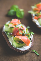 Sandwich with cream cheese cucumber and salmon