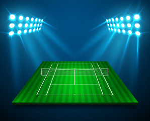 An illustration of perspective TENNIS field, cort with bright stadium lights design. Vector EPS 10. Room for copy