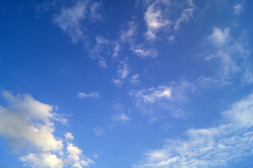 Blue sky with gray swirling clouds