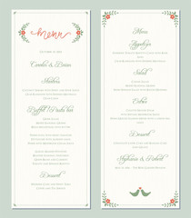 Garden greenery printable wedding menu template. Vector illustration.