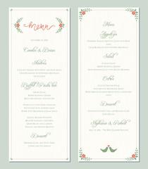 Garden greenery printable wedding menu template. Vector illustration.