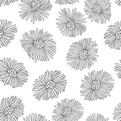 Abstract seamless pattern with hand-drawn flowers on a white background. Contour vector illustration.