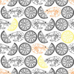Seamless  pattern with shrimps and seashells on white background. Vector Illustration.Black-and-white  drawing.