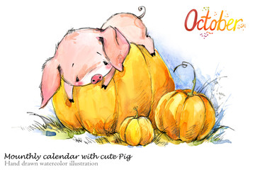 Cute pig hand drawn watercolor illustration. Mounth.ly calendar with piglet.