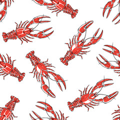 Seamless pattern with red crawfish on a white background.Hand drawn vector illustration.
