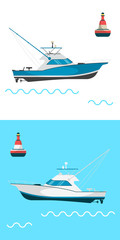 Fishing boat side view and buoys with blue sea background and isolated on white. Side view illustration.