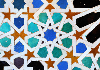 Arab tiles from Palace of Alhambra in Granada, Andalusia, Spain