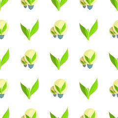Seamless Pattern with Green Plant and Light Bulbs