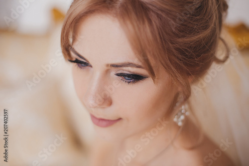 Gorgeous Beauty Young Bride Portrait Beautiful Bride With