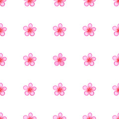 Seamless Pattern with Sakura Blossom Isolated
