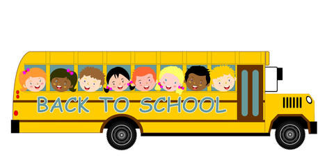 Back to School Bus and children vector eps 10