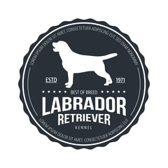 Vintage Dog Badge. Labrador retriever logo. Vector illustration.