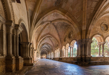 TARRAGONA, SPAIN - OCTOBER 4, 2017: Interior of the Cathedral of Tarragona (Catholic Cathedral). Copy space for text.