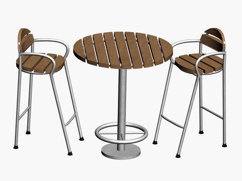 Gartenmöbel aus Holz und Metall