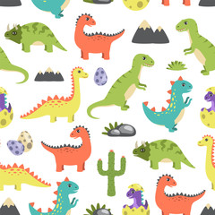 Dino Seamless Pattern Image Vector Illustration