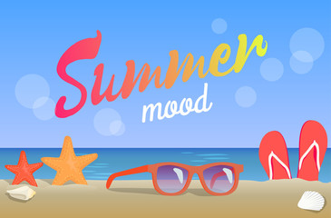 Summer Mood, Beauty Seascape, Colorful Banner