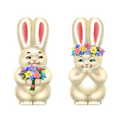 isolated onpair of white rabbits with flowers, isolated on white white