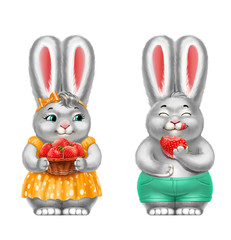 two gray rabbits with strawberries, in clothes, isolated, on white