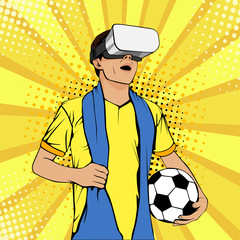Football fan in virtual reality glasses with open mouth and ball. Vector colorful illustration in retro comic style. Watching sport game pop art invitation poster.