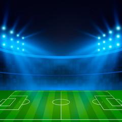Football Stadium. Soccer field in the light of searchlights. Football World Cup. Vector illustration