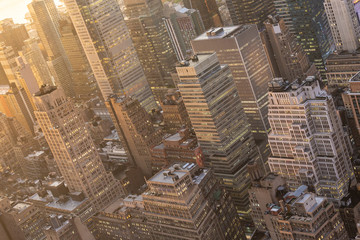 Fototapete - Aerial view of New York City skyline with Manhattan midtown urban skyscrapers at dramatic after the storm sunset, USA.