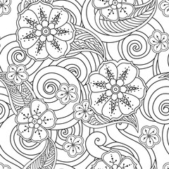 Abstract hand drawn outline stylized ornament seamless pattern with flowers and curls isolated on white background. coloring book for adult and older children.