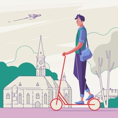 Male on scooter in the city