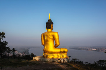 Golden big Buddha and Mekong view in Champasak, Laos