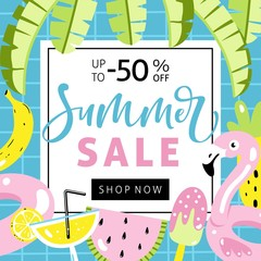 Summer sale banner with cut flamingo pool float, cocktail, banana leaves, watermelon, pineapple and hand written text.