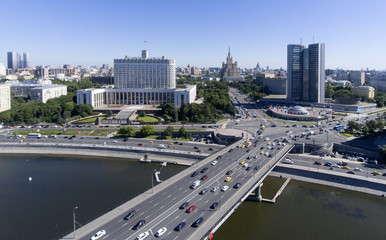Panorama of the city of Moscow. The building of the Government of Russia.