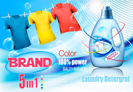 Laundry detergent ad. Plastic bottle  and colorful shirts on rope. Design template. Vector