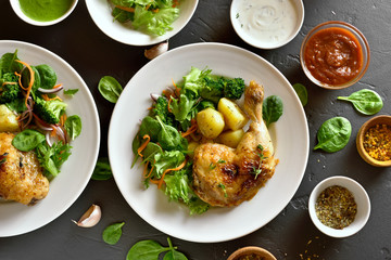 Chicken leg with potato and green salad
