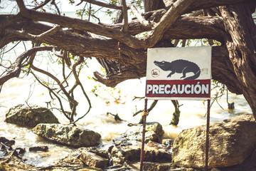 Crocodile warning sign near river