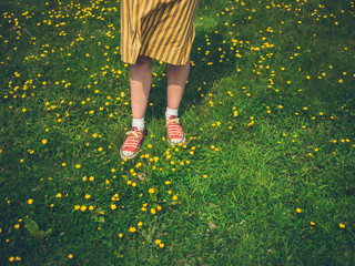 Feet and legs of young woman in meadow
