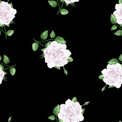 Rose flowers, petals and leaves in watercolor style on black background. Seamless pattern for textile, wrapping paper, package