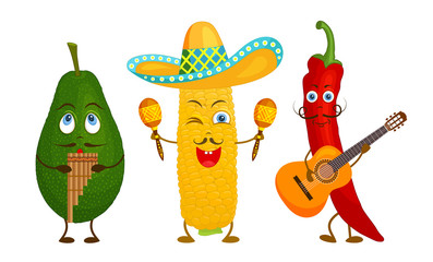 Characters of traditional Mexican cuisine who play national musical instruments. Vector corn, avocado and chili peppers in the form of maryacho. Cartoon style.