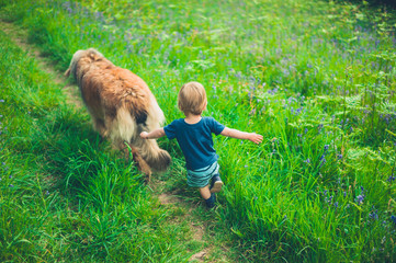 Little boy running in meadow with dog