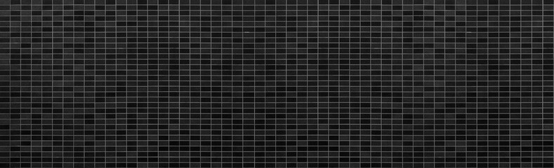 Panorama of Black brick wall background