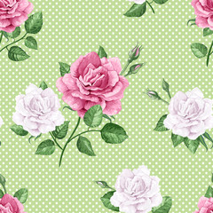 Rose flowers, petals and leaves in watercolor style on green dotted background. Seamless pattern for textile, wrapping paper, package