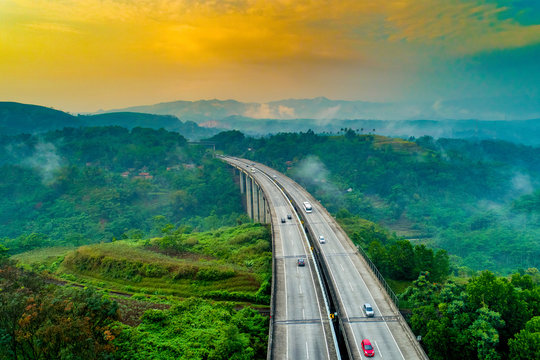 Aerial View of Modern Architectural Car Bridges, West Java Indonesia