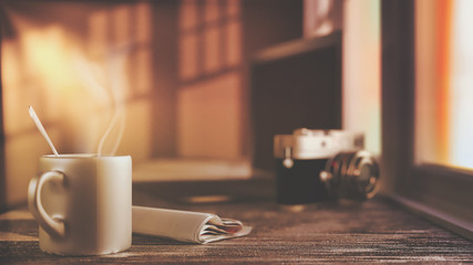 A cup of coffee and newspaper on old wooden desk in morning sunlight. Simple workspace or coffee break in morning, selective focus, filter effect, 3D rendering. White space.