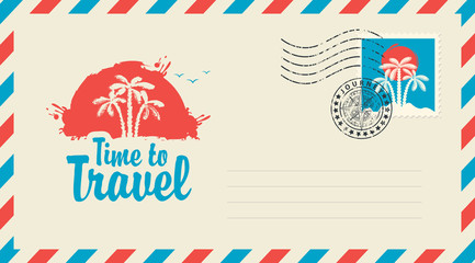 Postal envelope with stamp and rubber stamp. Illustration on the theme of travel with the scenery of the Islands, palm trees at sunset and a calligraphic inscription Time to travel