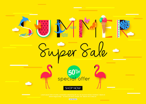 Colorful summer sale banner with red flamingo bird. Vector illustration