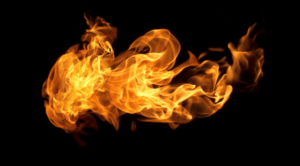 Foto op Canvas Vuur Fire flames on a black background