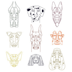 Dog vector set, different breed. Bulldog, hand small doggie terrier, maltese-dog. Icons. Spaniel, bulldog, chihuahua, chow-chow, jack russel terrier, yorkshire, scottish terrier, badger, pitbull.