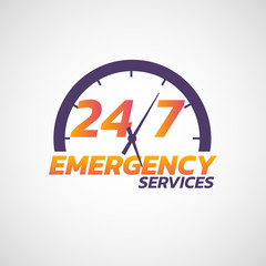 24/7 emergency services logo icon. Vector illustration