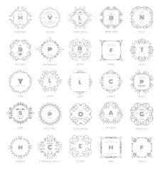 Set of luxury monogram logo templates. Elegant design for business sign, restaurant, wedding shop, jewelry, fashion, product design, brand sign. Vector illustration.