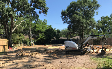 A new home being constructed six feet above the ground to replace the one destroyed by Hurricane Harvey in 2017 is shown in the Meyerland neighborhood of Houston