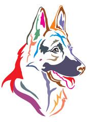 Colorful decorative portrait of German shepherd in profile, vector illustration